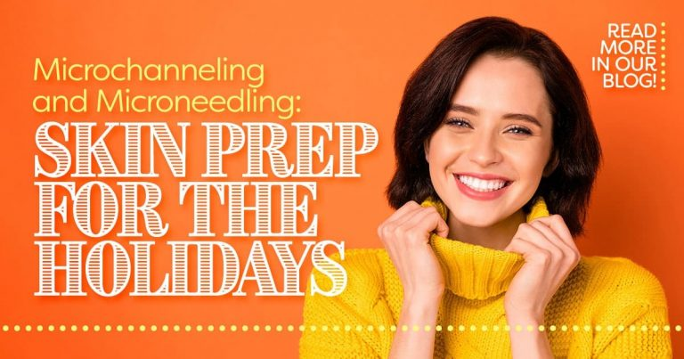 Woman with short dark hair in yellow sweater, Skin prep for the holidays, microchanneling and microneedling