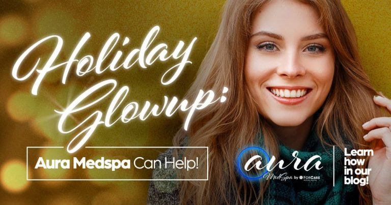 Holiday Glow up with Aura MedSpa, woman with long hair smiling, dermatology skincare